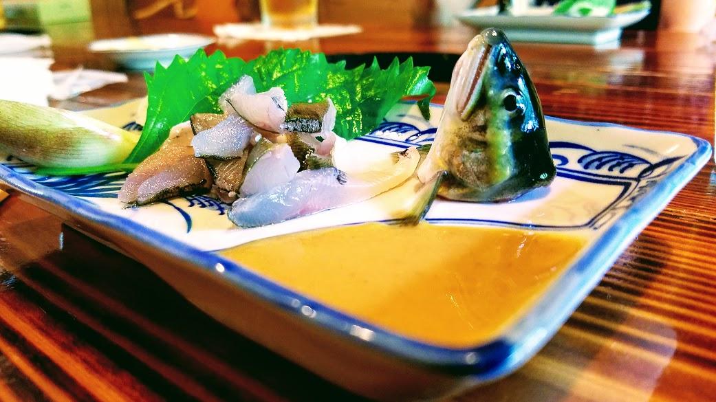 鮎のお造り ミョウガと酢味噌で